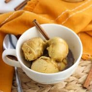 Pumpkin spice gelato affogato is a fun dessert take on a coffee shop favorite! Easy, no-cream homemade pumpkin spice gelato is covered in freshly brewed espresso for an affogato inspired by a Starbucks pumpkin spice latte.