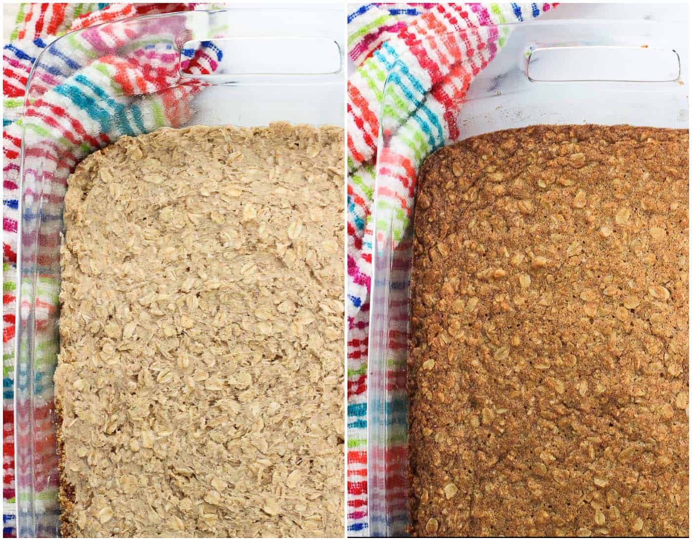 A side-by-side photo collage of the bar mixture pressed in the pan before baking (left) and after (right)