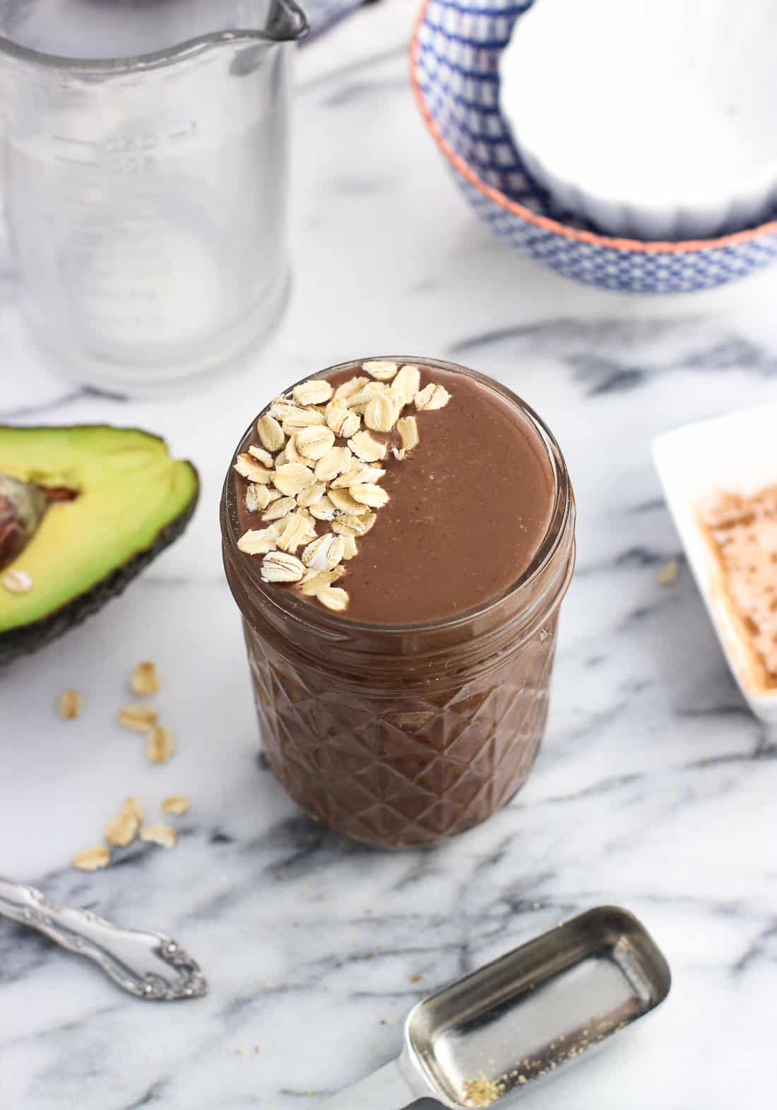 This chocolate cherry smoothie is extra filling thanks to the addition of oats, flaxseed, and avocado. Everything blends right up to form this dairy-free smoothie with great staying power. Great for breakfasts, snacks, or even as a healthy chocolate-flavored dessert.