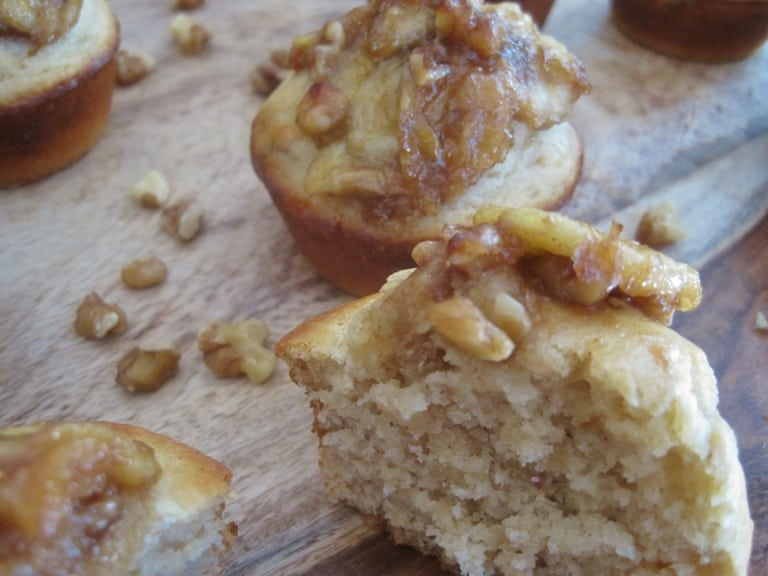 Maple Walnut Muffins with a Sauteed Banana Topping