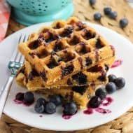 Blueberry Cornbread Waffles with Homemade Blueberry Syrup