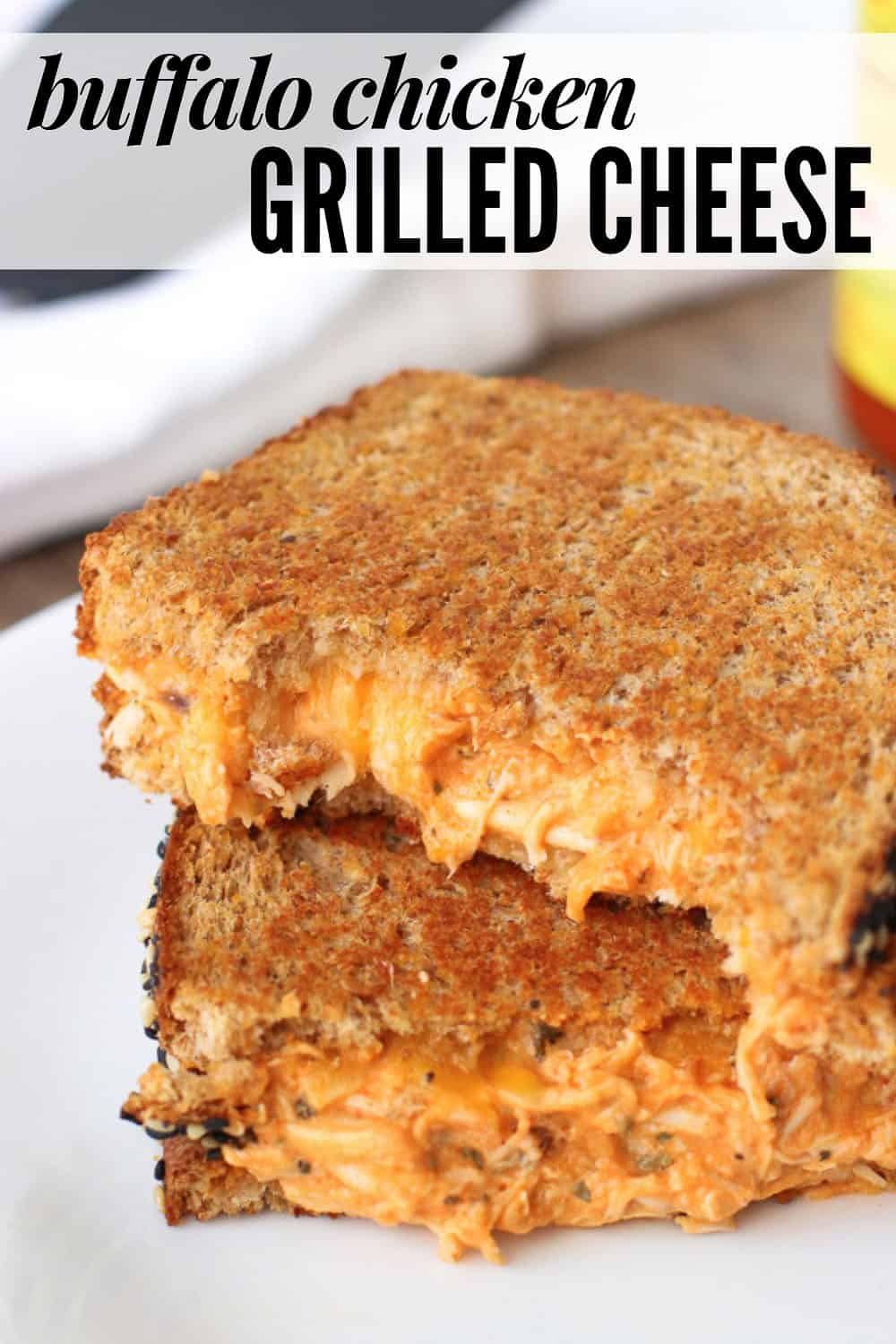 Grilled cheese sandwich on a plate with text overlay stating the recipe name