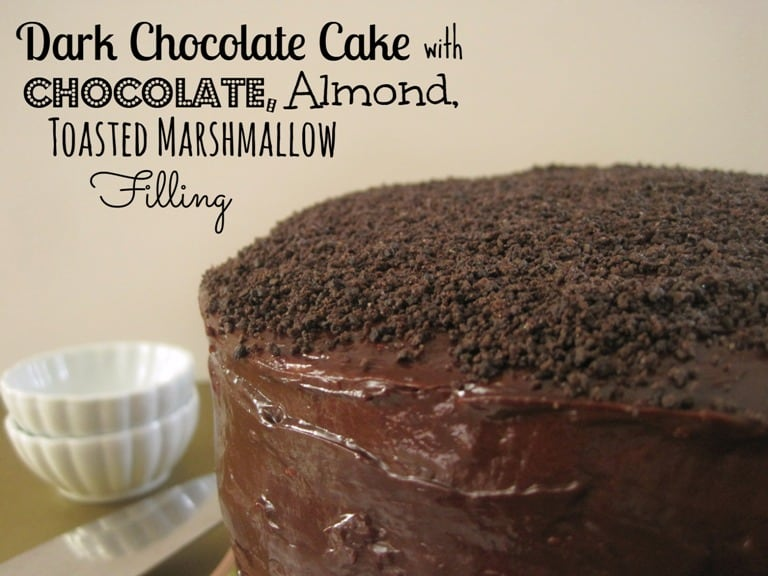Dark Chocolate Cake with Chocolate Almond Toasted Marshallow Filling