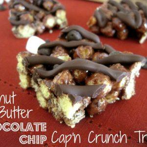 Sliced Cap'n Crunch treats on a linen placemat.