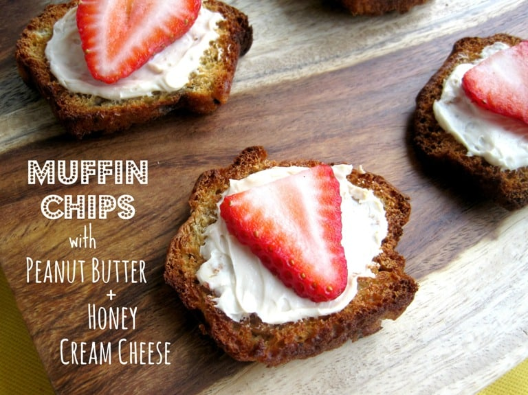Muffin Chips with Peanut Butter and Honey Cream Cheese
