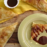 Pineapple Turnovers with Coconut and Caramel Sauce