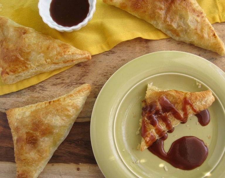 Pineapple Turnovers with Coconut and Caramel Sauce | www.mysequinedlife.com