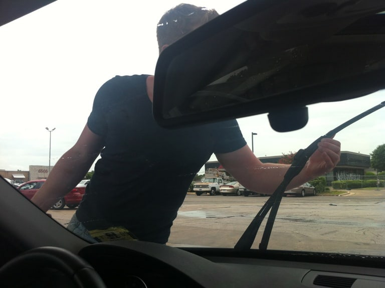 Cleaning the windshield for the millionth time | www.mysequinedlife.com