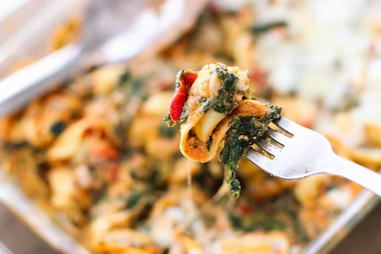 Tortellini Bake with Spinach and Roasted Red Peppers - a quick, satisfying meal. No need to boil the tortellini!