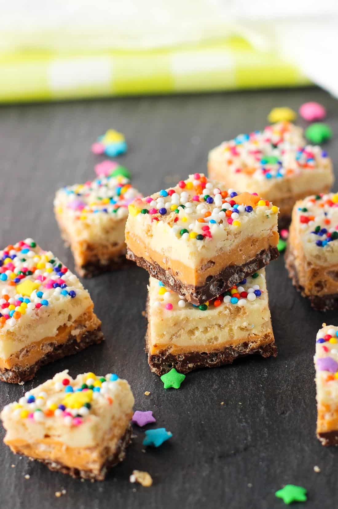 Double Chocolate Butterscotch Crunch Bars - an easy homemade crunch bar recipe made with three kinds of chips! mysequinedlife.com