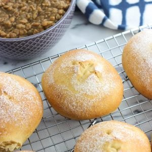 Homemade Old Bay buns are chewy and springy, making an extra flavorful bun for burgers or sandwiches. Simple kitchen staple ingredients are all you need to make these easy buns. They're also great as dinner side dish rolls!