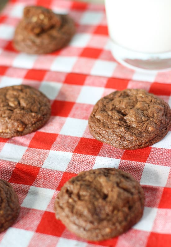 A close-up of cookies on a cloth napkin.