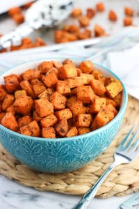 Easy oven roasted sweet potatoes make the BEST side dish. Done in forty minutes or less, these sweet potatoes feature a zippy blend of spices and seasonings that pair well with a wide range of main dishes.