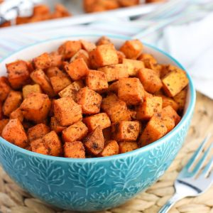 A bowl of roasted sweet potato chunks.