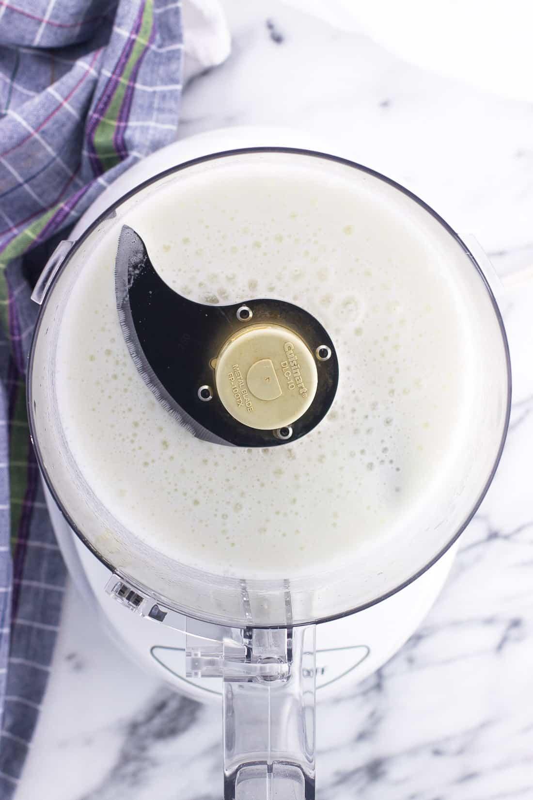 Foamy egg whites in a food processor