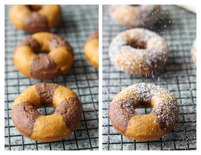 Donuts on a cooling rack before (left0 and after (right) being dusted with powdered sugar.