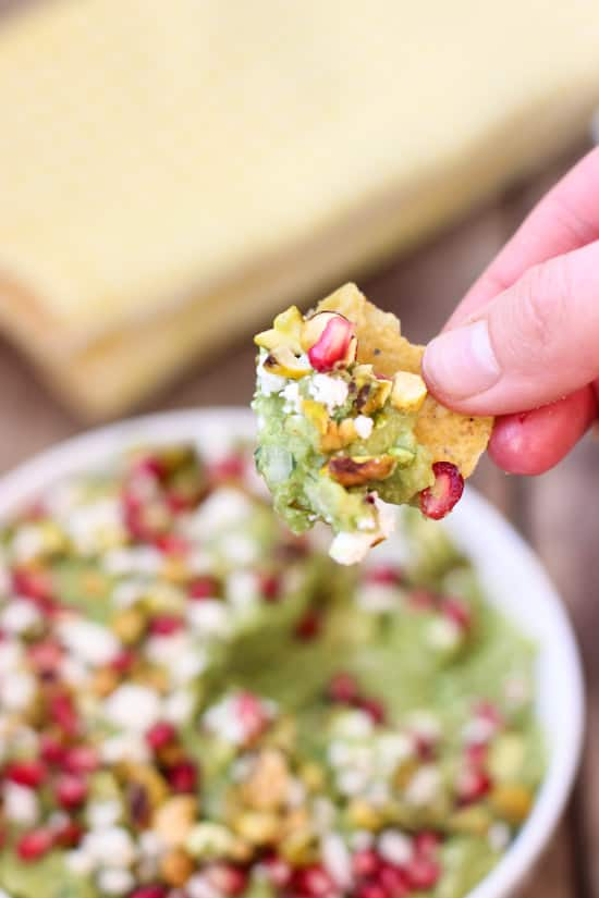 Guacamole with Feta, Pistachios, and Pomegranate Seeds | www.mysequinedlife.com