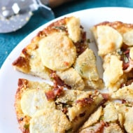 Pretzel Crust Pizza with Potato, Bacon, and Parmesan