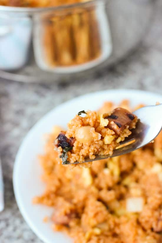 This BBQ Fried Couscous is the perfect weeknight dinner. You can use just about anything you've got on hand! www.mysequinedlife.com