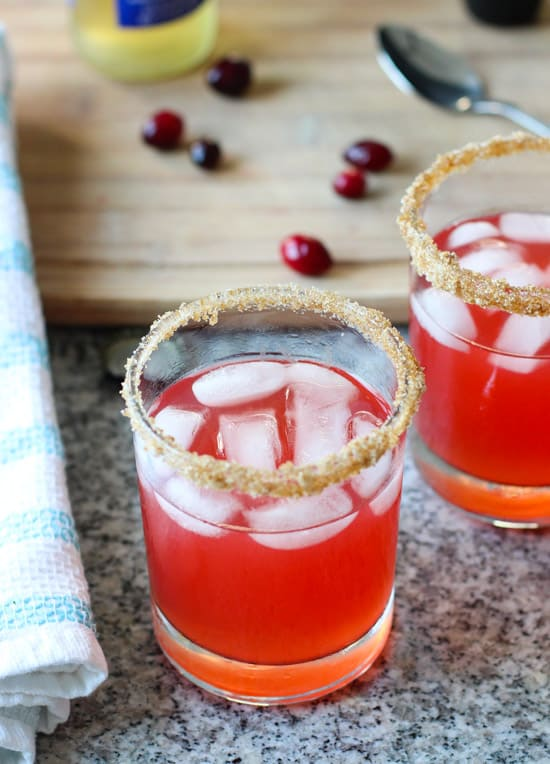 This cranberry apple margarita is a jazzed up and not too sweet version of the drink for the holidays! | www.mysequinedlife.com