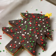 Christmas Tree Rainbow Cookie Cake
