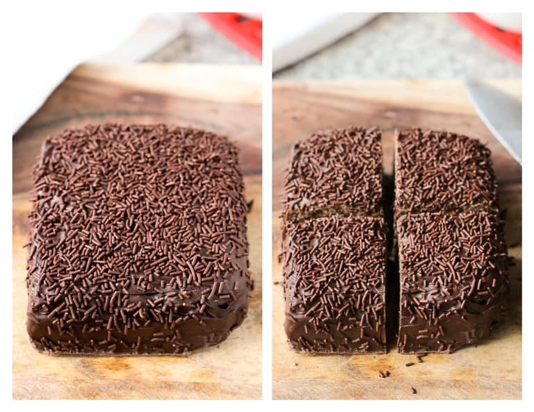 The chocolate-covered rice krispie treats on a wooden board before slicing (left) and after (right).