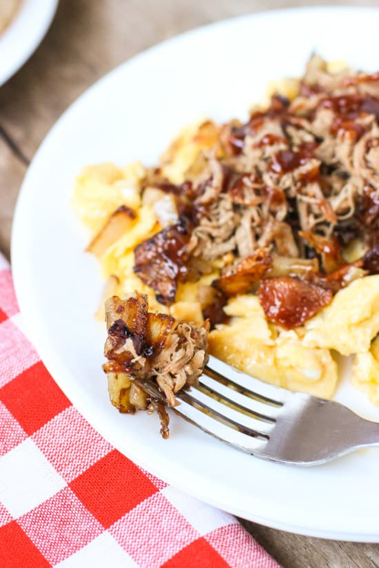 BBQ Pulled Pork Egg Scramble | My Sequined Life