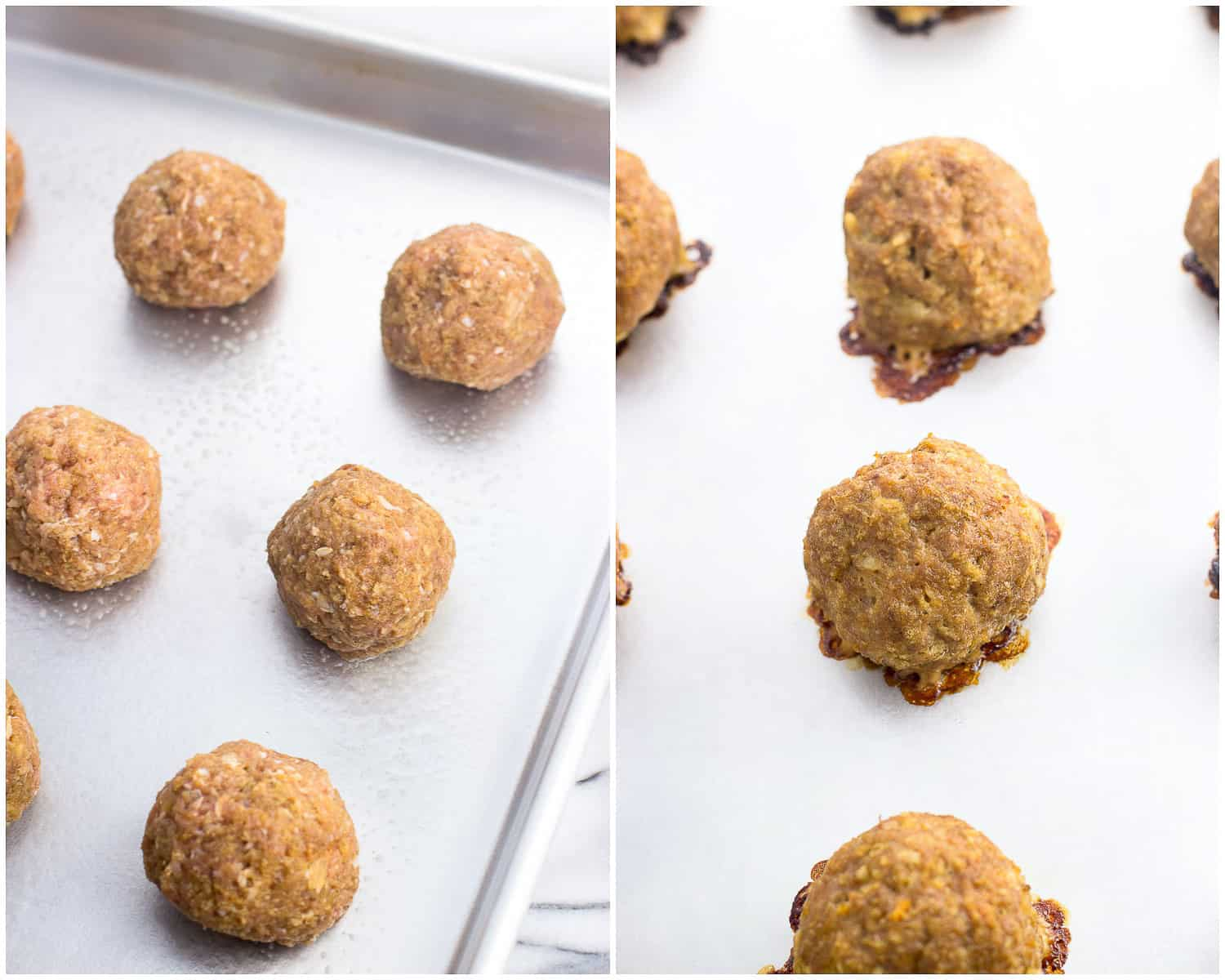 A side-by-side picture of meatballs on a baking sheet: raw on the left and cooked on the right