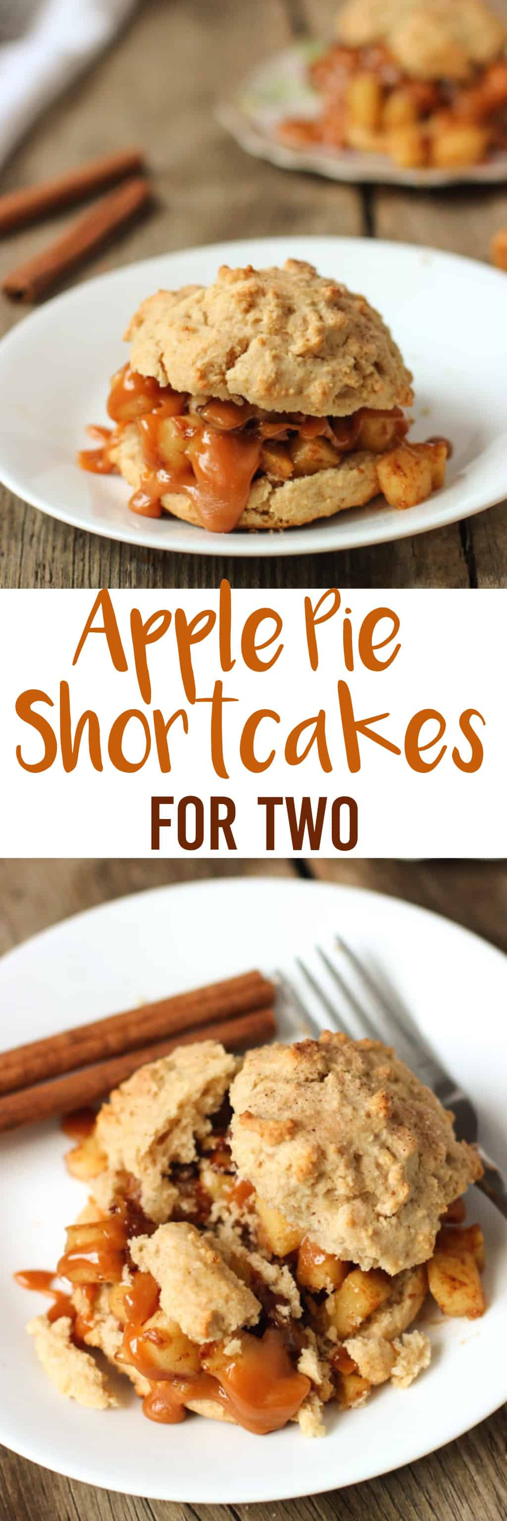 Apple Pie Shortcakes (for two!) - a small batch dessert with all the flavors of apple pie with caramel sauce. mysequinedlife.com