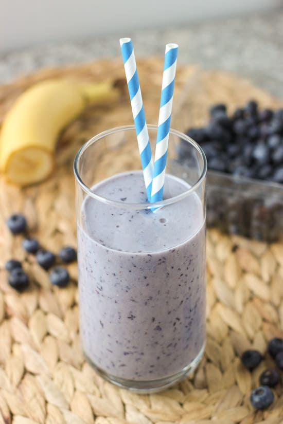 Spiced Blueberry Banana Smoothie - an easy blueberry banana smoothie that'll have you craving it for breakfast or a pick-me-up snack! It's creamy, sweetened with pineapple, and spiced just right with cinnamon.