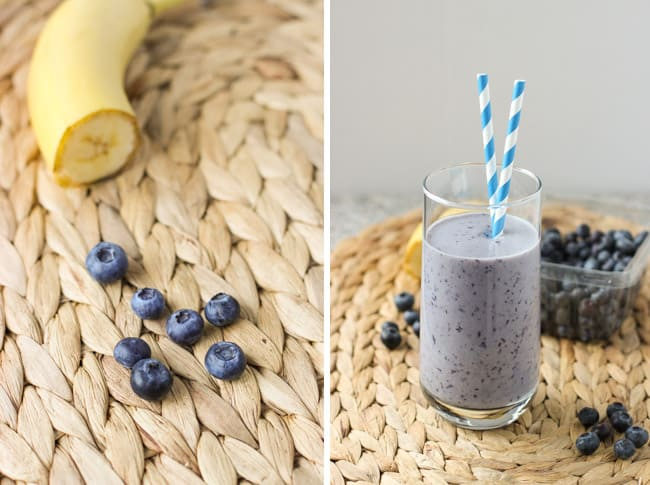 Half of a banana and blueberries on a placemat (left) and the smoothie in a tall glass (right).