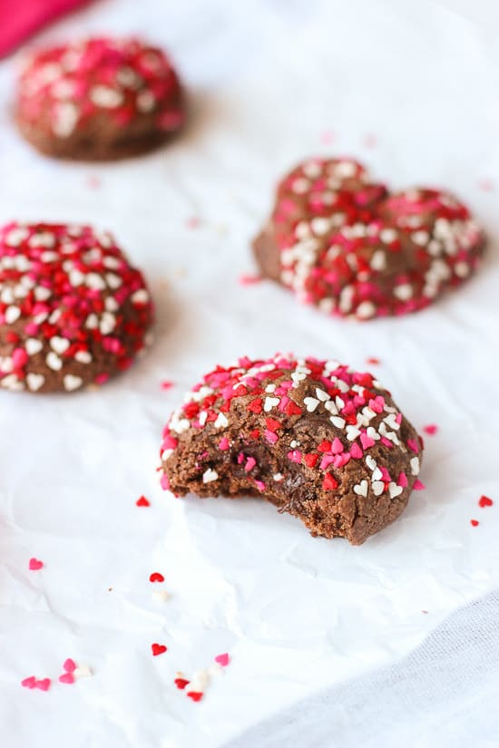 These double chocolate cookies are an easy Valentine's Day dessert! Can be made round or shaped like hearts if you like.