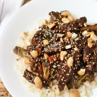 Beef Stir Fry with Balsamic Peanut Sauce