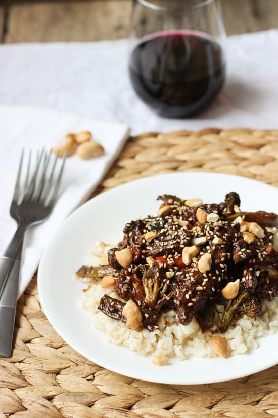 Beef Stir Fry with Balsamic Peanut Sauce | mysequinedlife.com