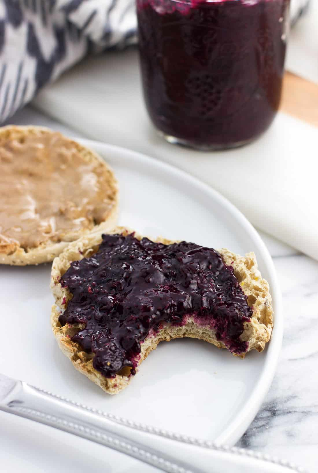 This blueberry chia jam is an easy, four-ingredient refrigerator jam recipe that comes together in fifteen minutes. There's no added sugar in this healthy blueberry jam.