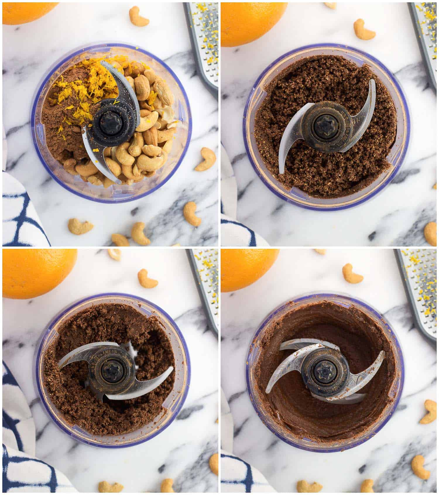 Orange Chocolate Cashew Butter is made in minutes in the food processor for a creamy and delicious spread with no sugar added. Sub it in for peanut or almond butter in sandwiches, or serve it as a perfect dip for fruit or pretzels!