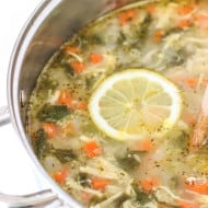 Lemon Chicken Quinoa Soup with Spinach