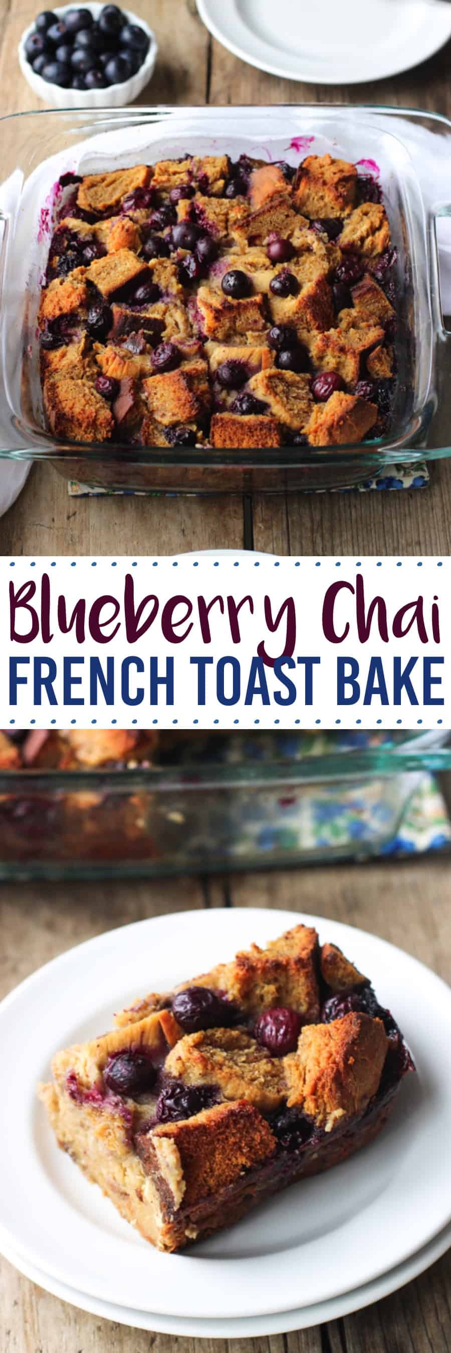 This whole wheat chai blueberry french toast bake is an easy and flavorful way to feed a crowd! Blueberries, chai spices, and maple syrup are bursting throughout this easy make-ahead (or not!) breakfast bake. Includes an easy recipe for whole wheat bread or you can use challah for a time saving shortcut.