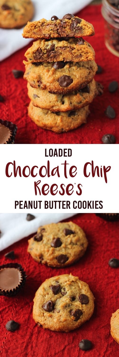 A two-image collage of chocolate chip peanut butter cookies with the recipe title between.