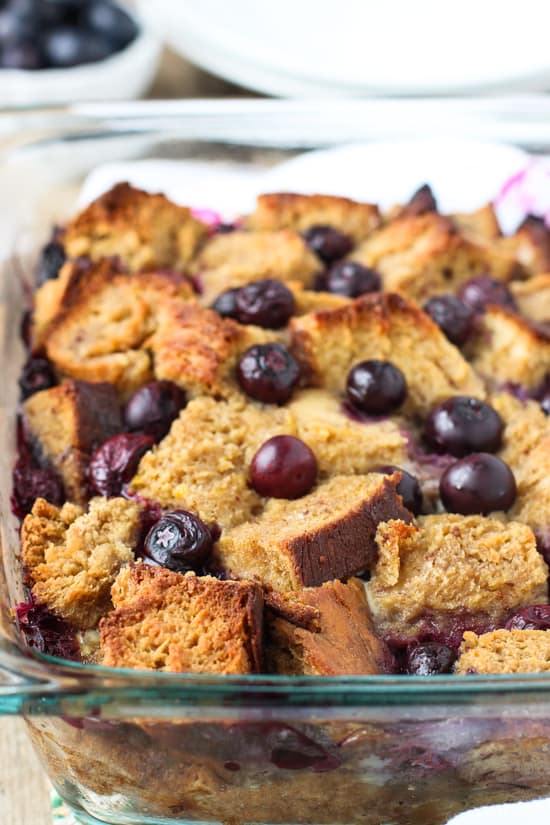 The french toast bake in the dish after baking.
