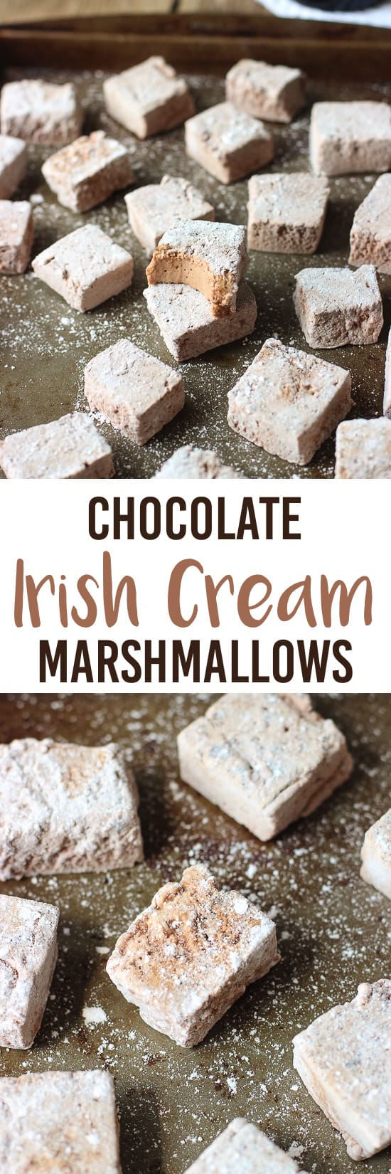A two-image collage of Irish cream marshmallows with the recipe title in between.