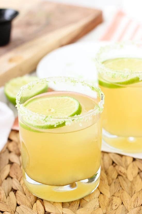 These shandy beergaritas are a light and fruity take on a margarita! Simple, customizable ingredients to suit your tastes (use whatever shandy you like!)