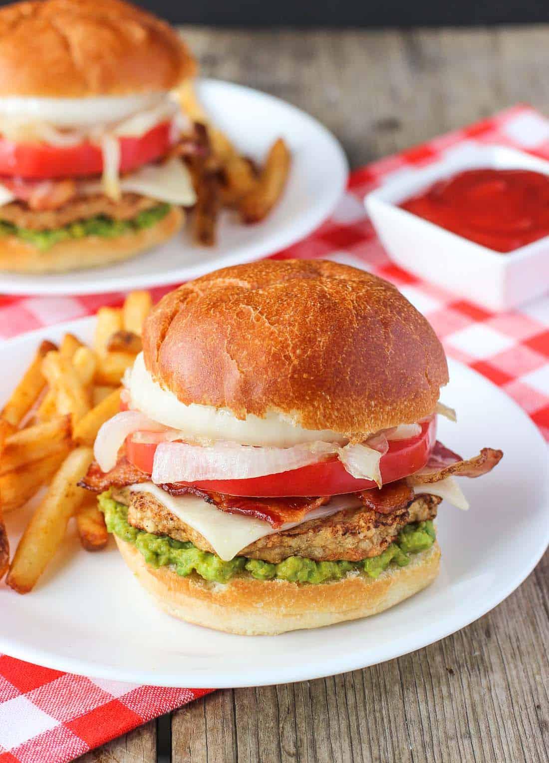Bacon Cheddar Chicken Burger with Smoky Guacamole | mysequinedlife.com