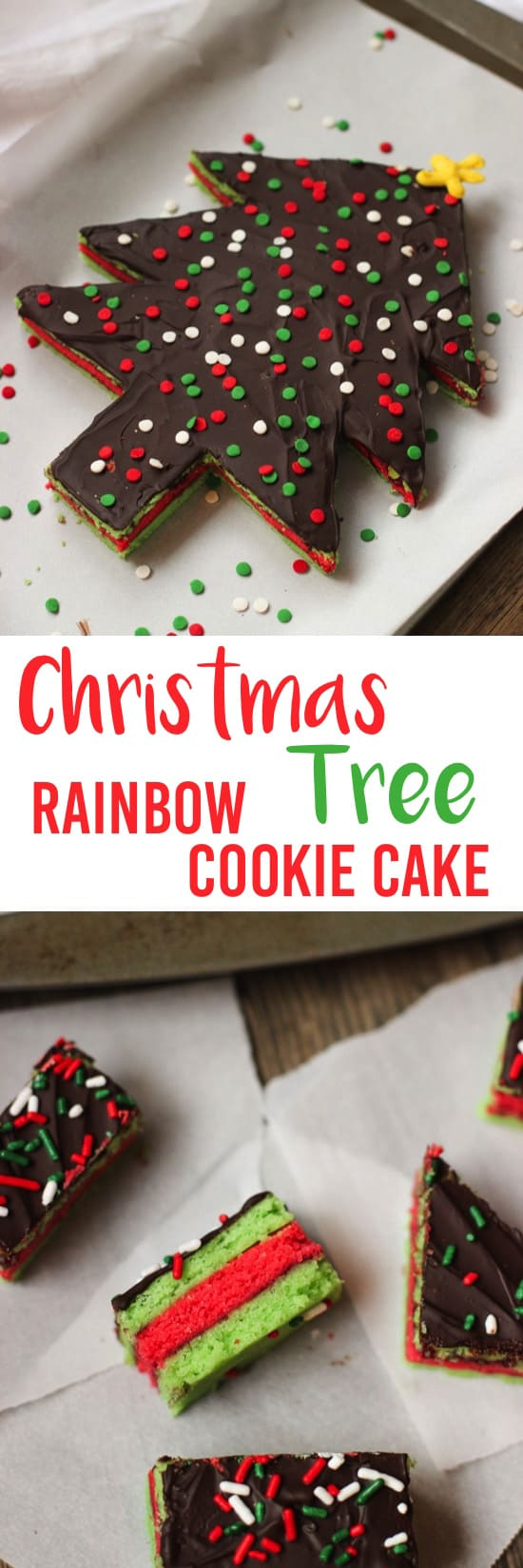 Christmas Tree Rainbow Cookie Cake | mysequinedlife.com