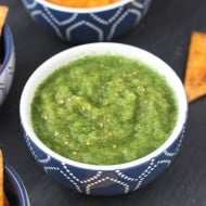 Easy Salsa Verde with Seasoned Tortilla Chips