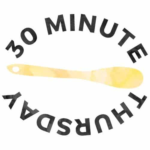 """30 Minute Thursday\"" graphic with a wooden spoon icon."
