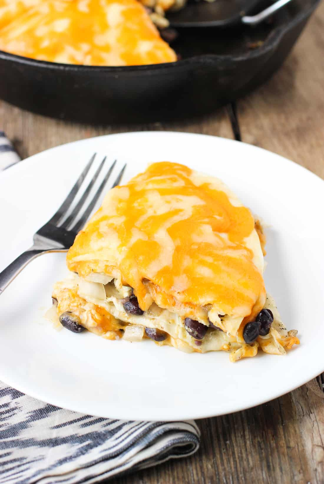 Cheesy Salsa Verde Chicken Tortilla Pie | mysequinedlife.com