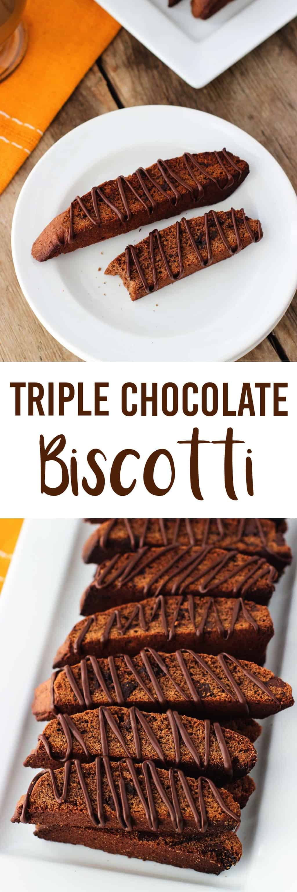 Triple Chocolate Biscotti - perfectly crisp (but not too crisp) chocolate biscotti loaded with two kinds of chips and a chocolate drizzle. A crowd favorite! mysequinedlife.com