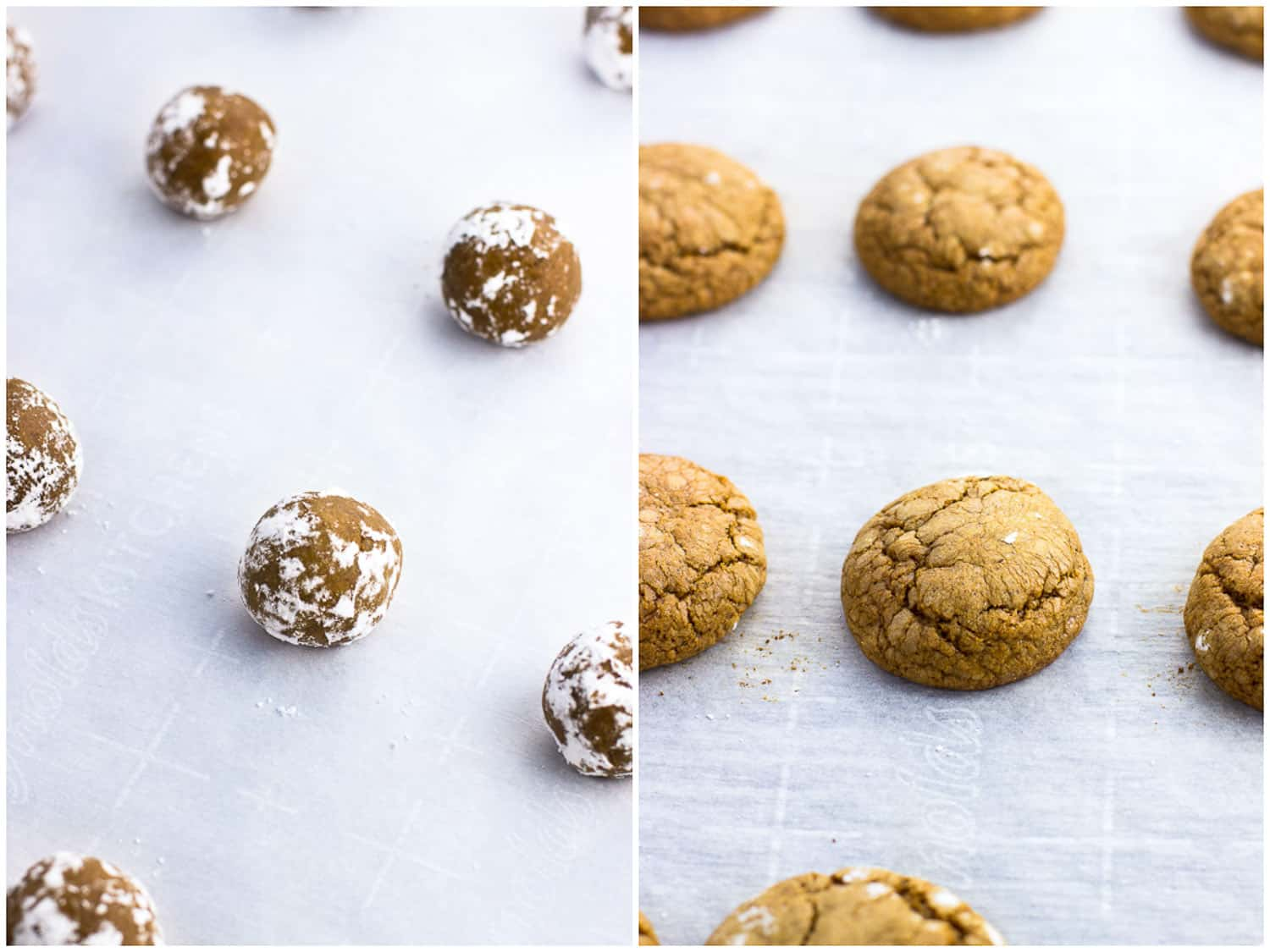 A side-by-side image collage of cookie dough balls on a parchment-lined baking sheet before baking (left) and after (right)