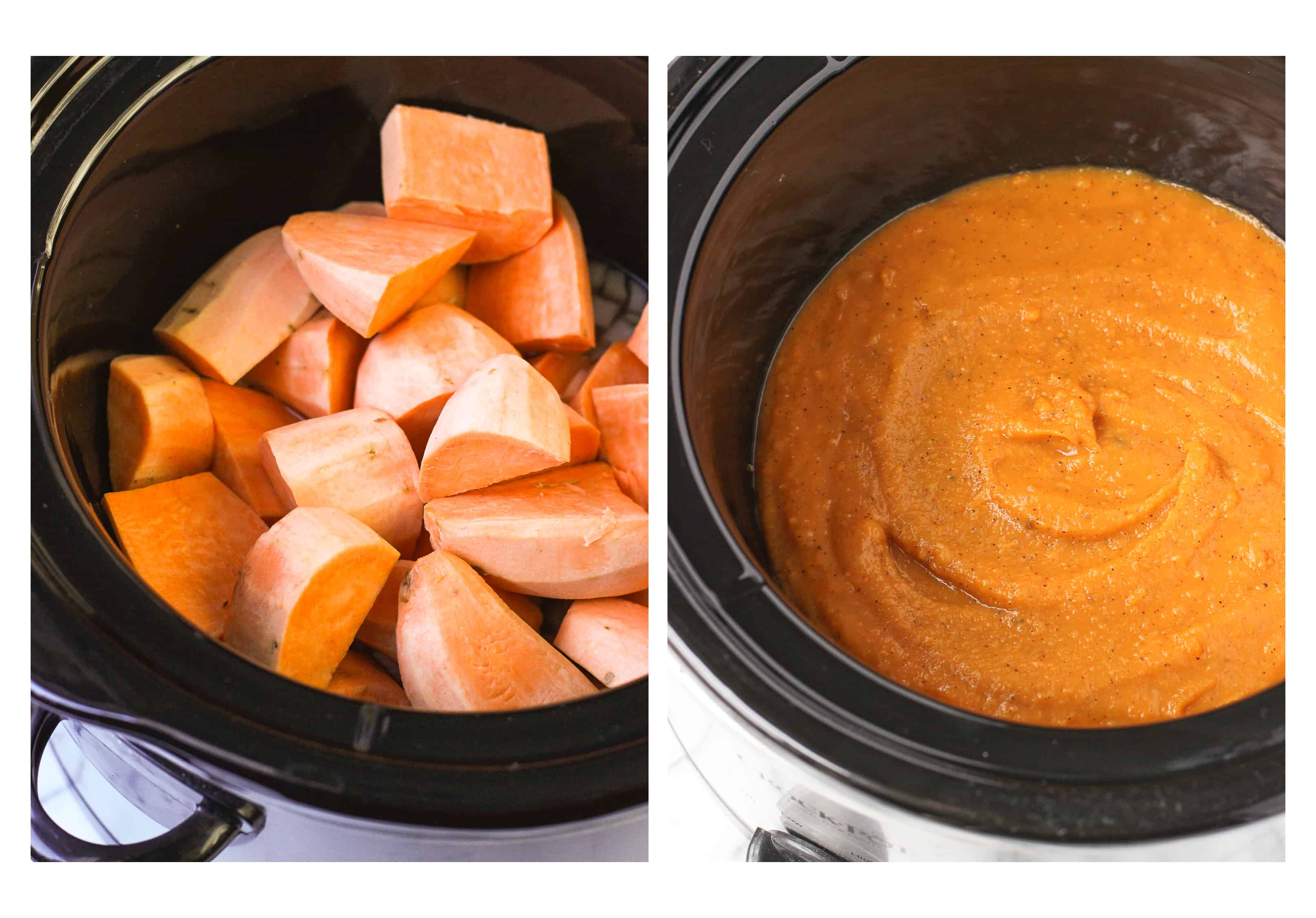 Smoky Sweet Potato Soup is thick, creamy, and lightened up. It's made in the slow cooker with easy prep!